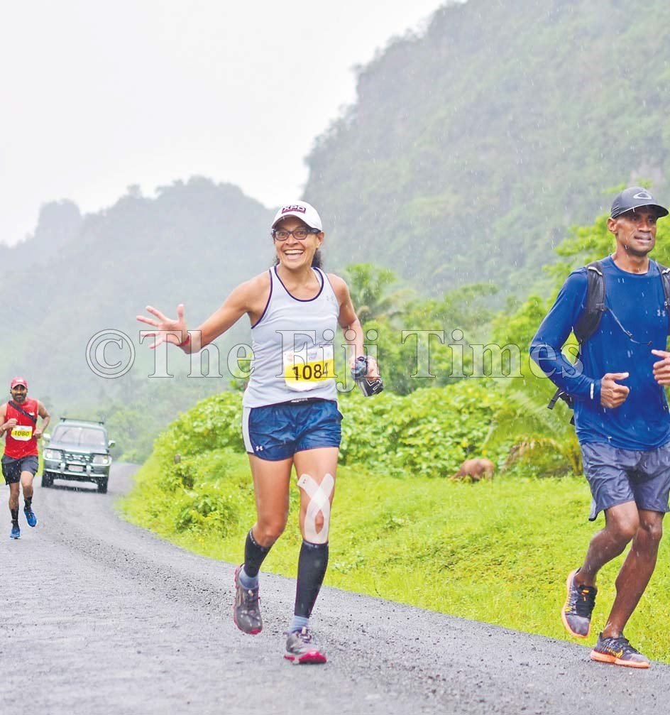 Full marathon runner Anna Cowley enduring the rough terrain with a smile during the Namosi Marathon Fiji's toughest marathon. Anna was also a participant with the Eco Challenge televised on Amazon Prime. Picture: JOVESA NAISUA