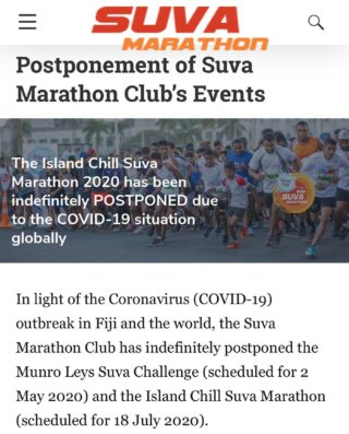 In light of #COVID19 outbreak in Fiji and the world, the Suva Marathon Club has indefinitely postponed the Munro Leys Suva Challenge (scheduled for 2 May 2020) and the @islandchillfiji Suva Marathon (scheduled for 18 July 2020). This postponement is in line with recommendations from @worldathletics and @oceaniaathletics, and we intend to reschedule the events in due course. Suva Marathon Club's monthly Saturday Social runs are cancelled until further notice. We encourage all our runners and members to remain active and run outside where safe to do so. While there are currently no restrictions on being outdoors, we recommend you practice social distancing and good hygiene. We also encourage everyone to follow the alerts from the @fijiangovernment, Ministry of Health and Medical Services, along with the @who, as trusted sources of information. #suvamarathonclub #readyforachallenge #runfiji #suvafiji #athfiji #running #marathontraining #runners #run #running #runner #instarunners #marathon #fitness #instarun #training #runnersofinstagram #instarunner #runningmotivation #runnerscommunity #runnersworld #triathlon #runnerslife #marathontraining #happyrunner